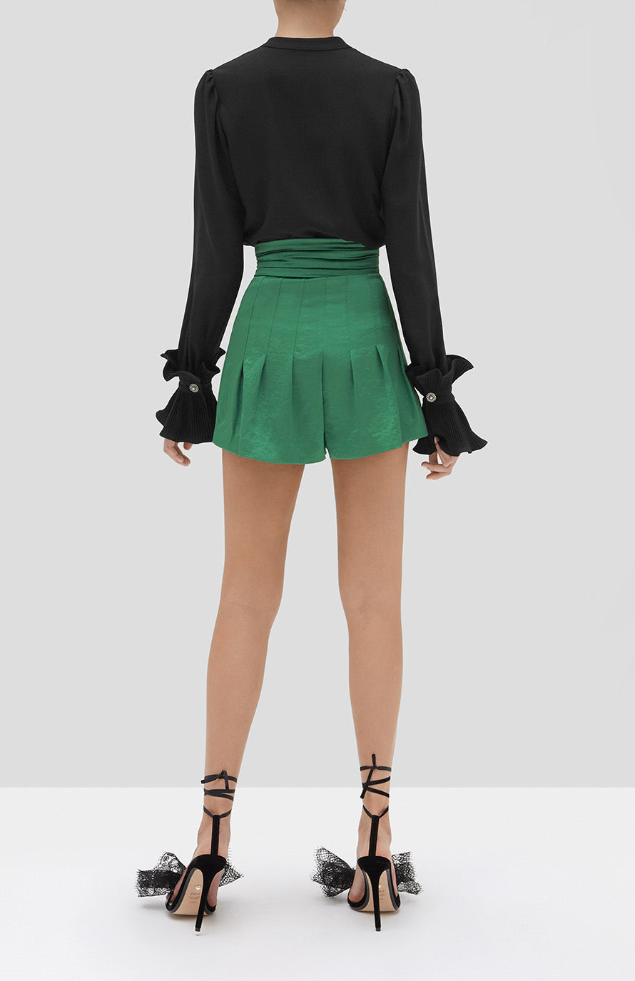 Alexis Meera Top in Black and Lucca Shorts in Emerald Green from our Holiday 2019 Ready To Wear Collection. - Rear View