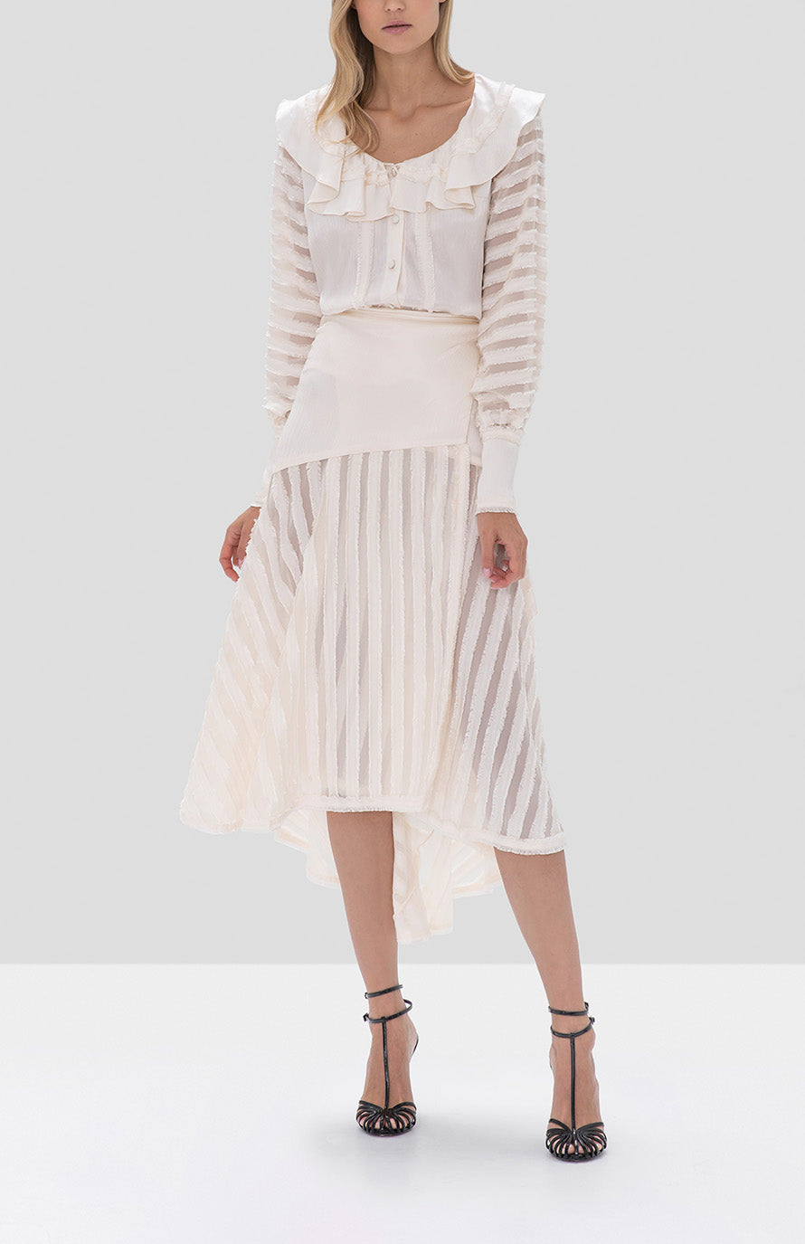 Alexis Melata Top and Danos Skirt in Off White from the Fall Winter 2019 Ready To Wear Collection - Rear View