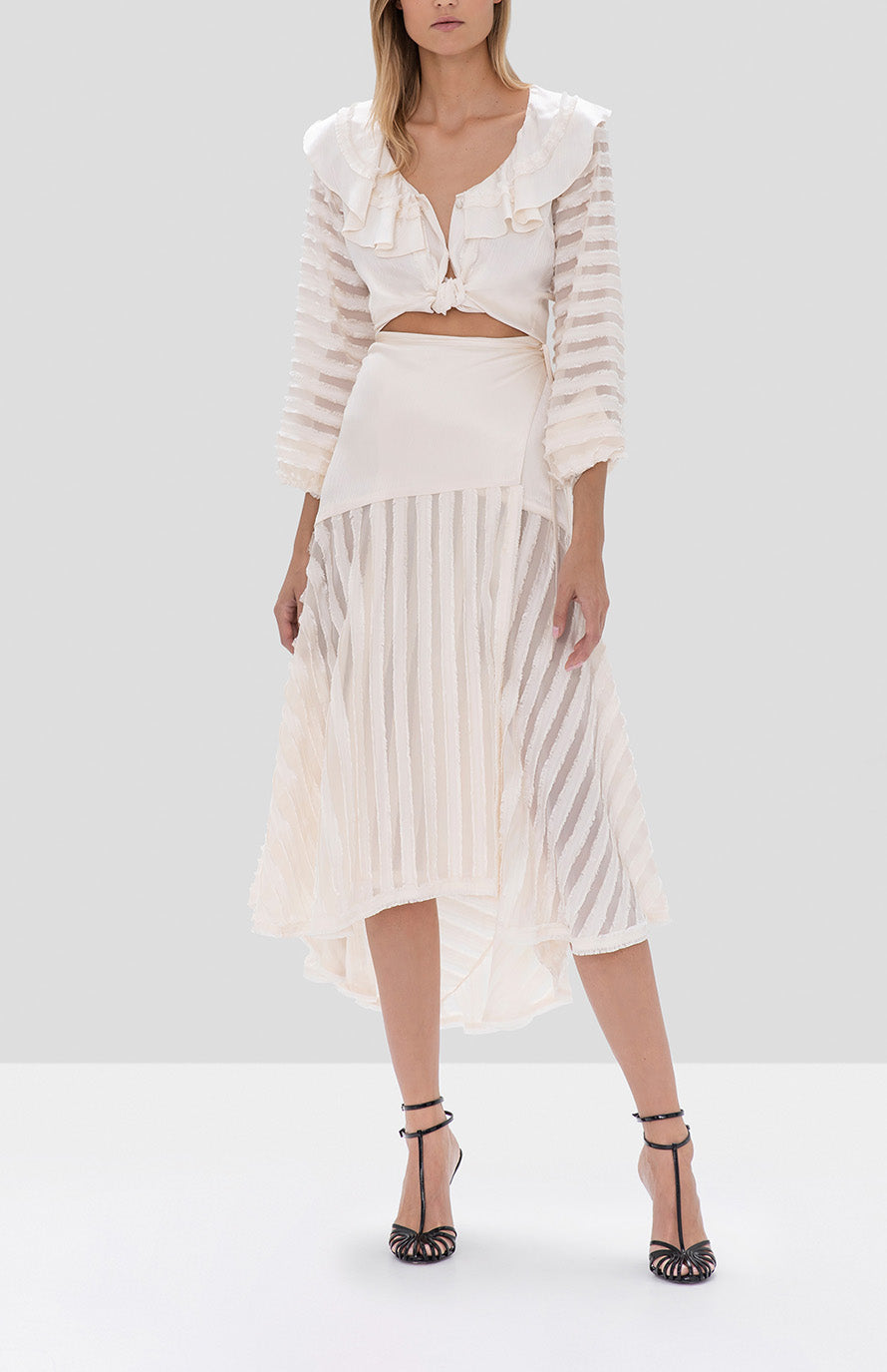 Alexis Melata Top and Danos Skirt Off White from the Fall Winter 2019 Ready To Wear Collection - Rear View
