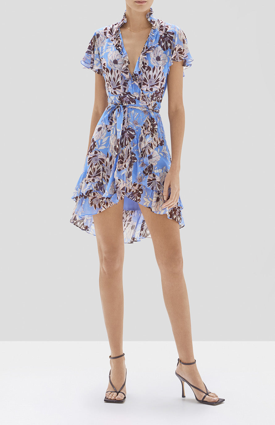 Alexis Melyssa Dress in Blue Floral from Pre Spring 2020 Collection - Rear View