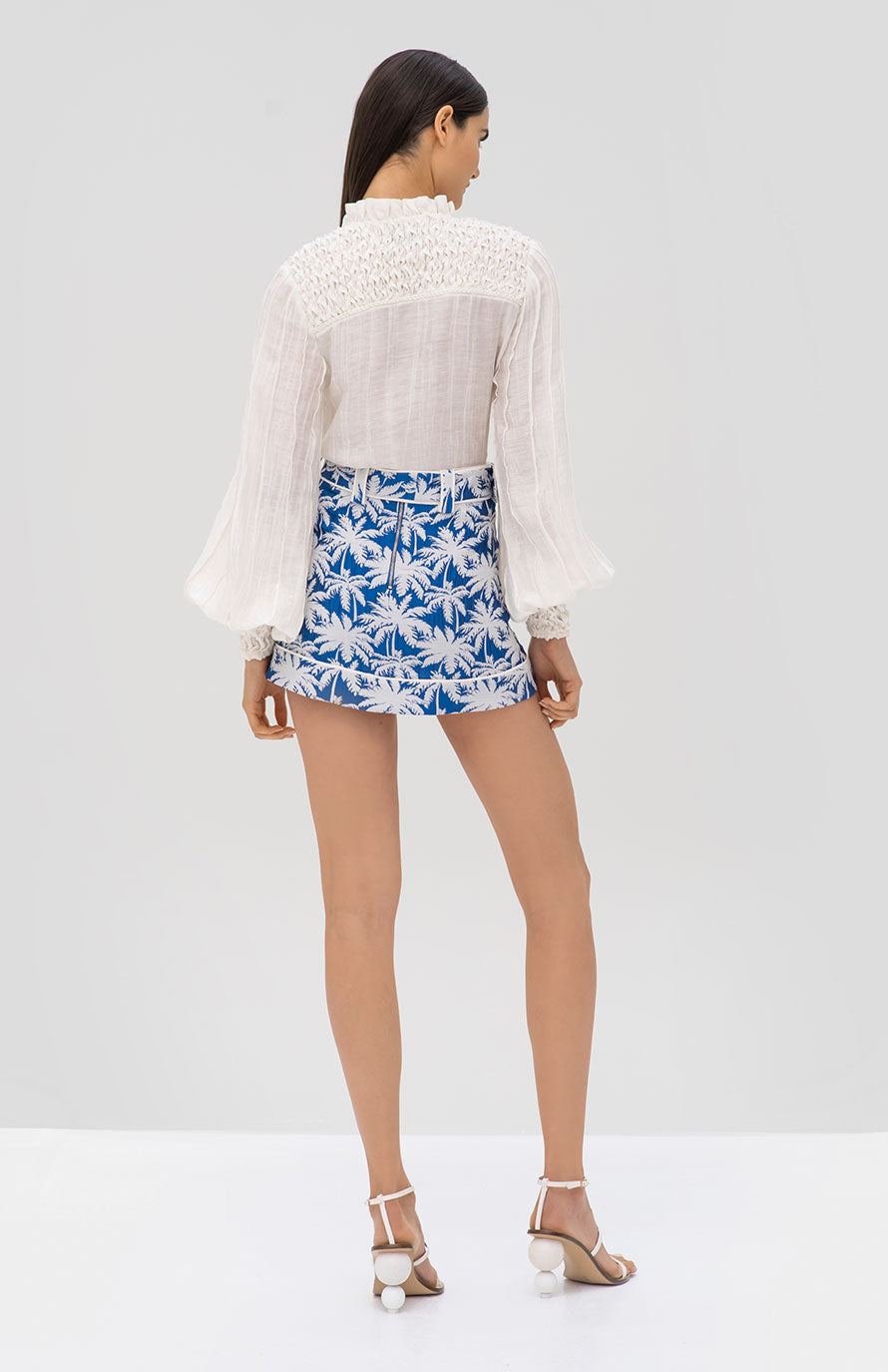 Alexis Minelli Top White and Lodi Skirt Blue Palm Jacquard - Rear View
