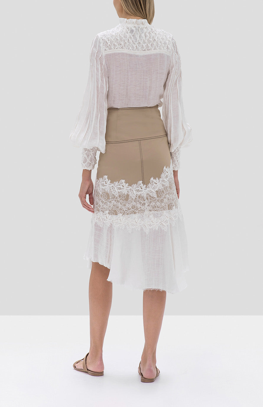 Alexis Minelli Top White and Beretti Skirt in Tan from the Pre Fall 2019 Ready To Wear Collection - Rear View