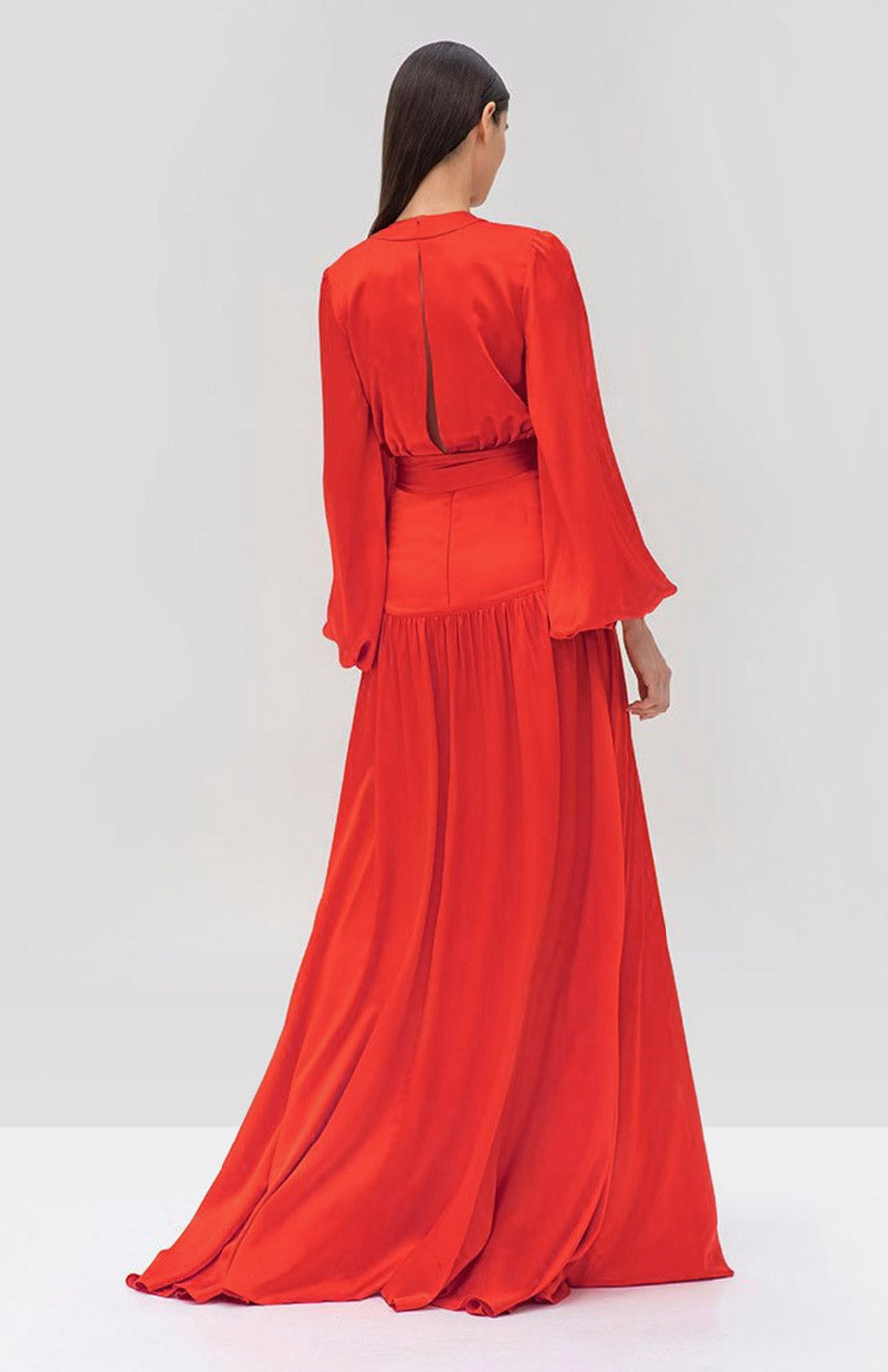 Alexis Modesta Dress in Red from the Pre Fall 2019 Ready To Wear Collection - Rear View