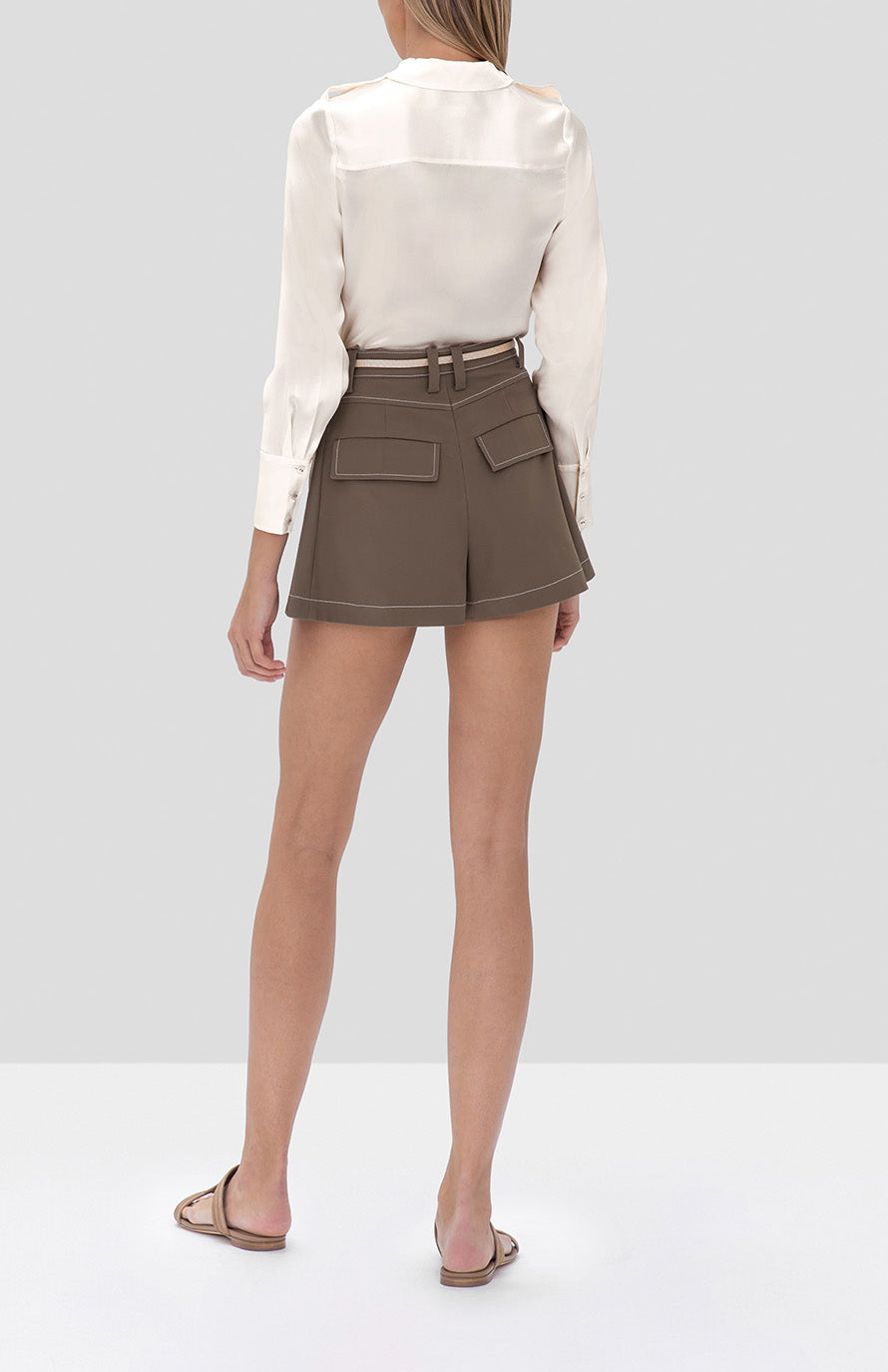 Alexis Montrose Top in Ivory and Laz Shorts in Mocha - Rear View