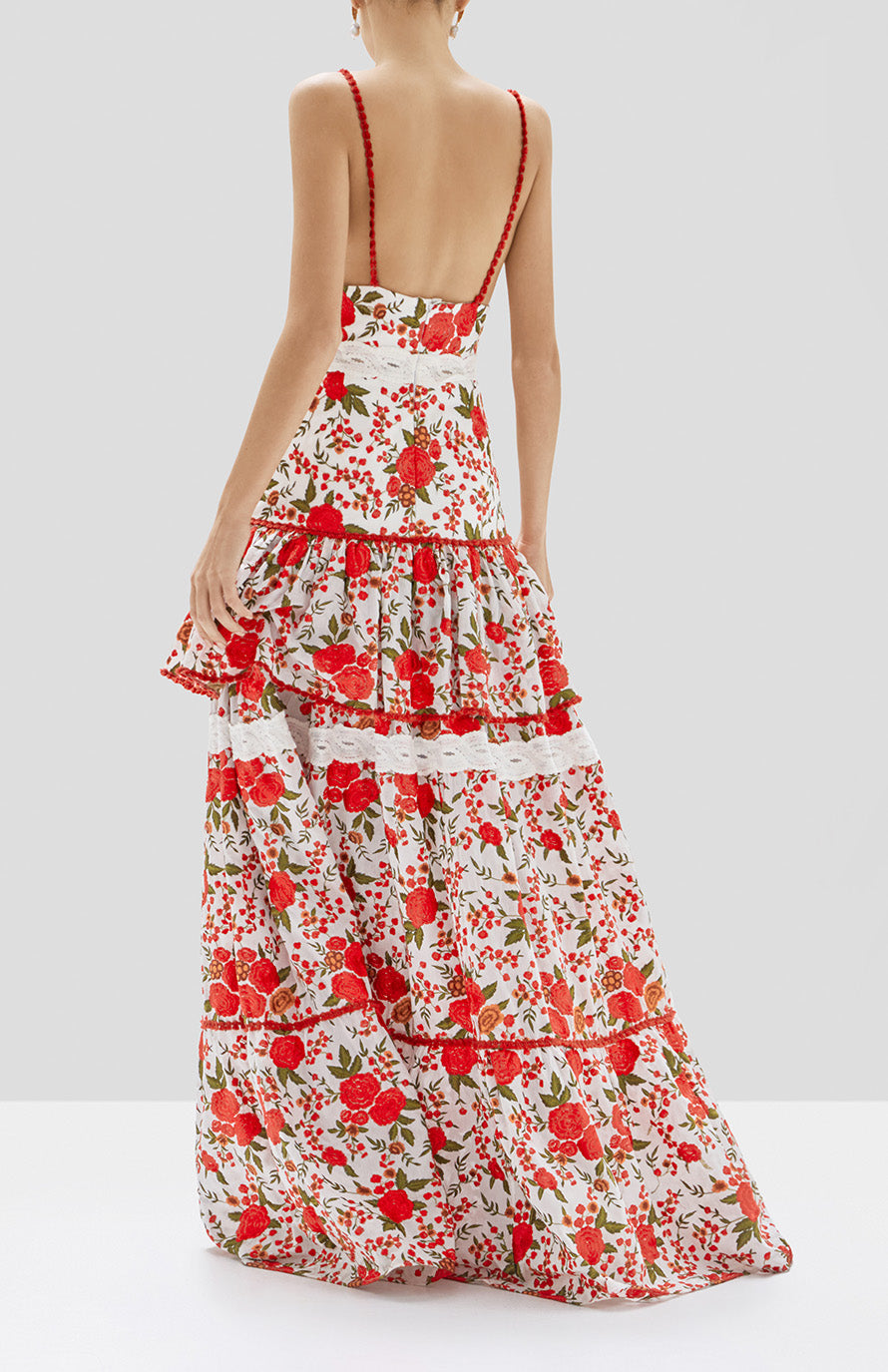 Alexis Naomie Dress in Rose Embroidery from Pre Spring 2020 Collection - Rear View