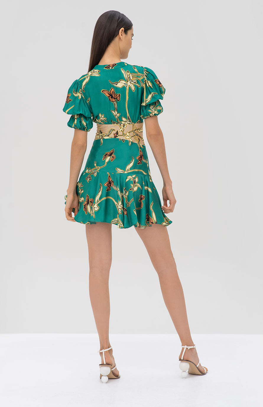 Alexis Nari Dress Jade Green Orchid - Rear View