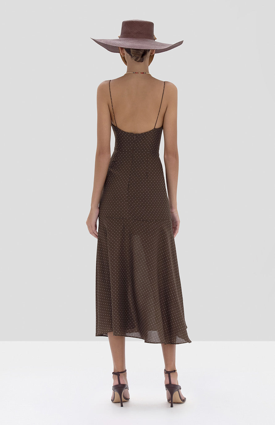 Alexis Nizarra Dress in Mocha Dot Linen from the Spring Summer 2020 Collection - Rear View