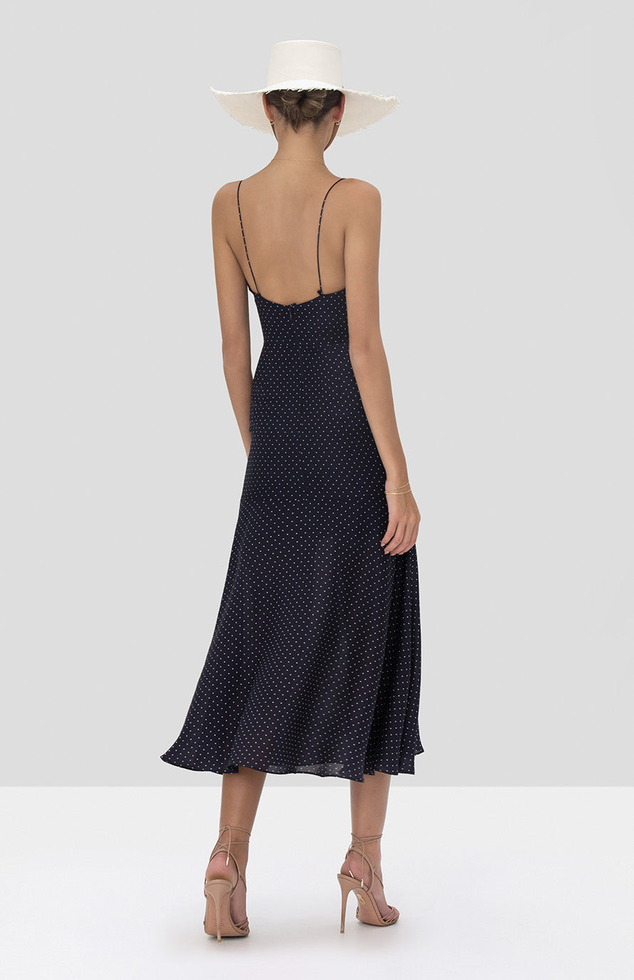 Alexis Nizarra Dress in Navy Dot Linen from the Spring Summer 2020 Collection  - Rear View