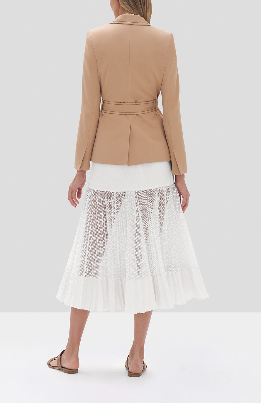 Alexis Nourdine Blazer in Striped Tan, Wera Top in White, Bartley Skirt in White - Rear View
