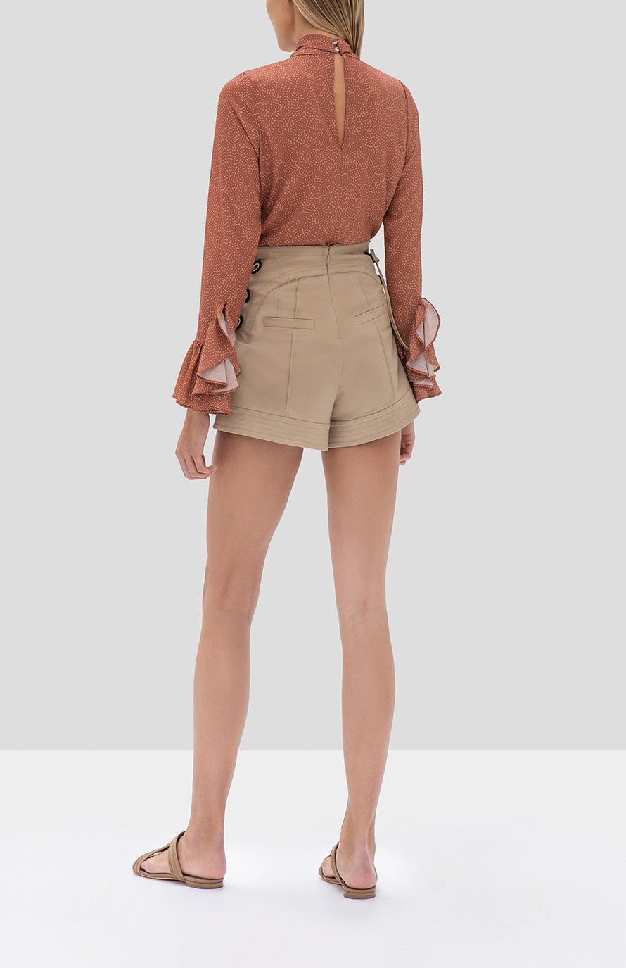 Alexis Odellia Top Tan Dot and Winnick Short Tan from the Fall Winter 2019 Ready To Wear Collection - Rear View