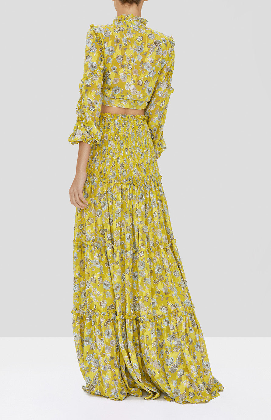 Alexis Odilo Top and Galarza Skirt in Citron Floral from our Pre-Spring 2020 Ready To Wear Collection - Rear View
