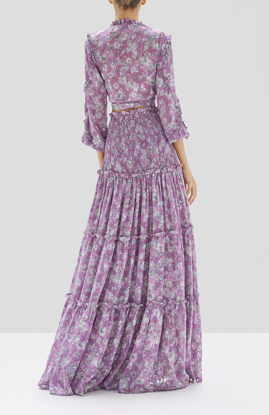 Odilo Top and Galarza Skirt in Lilac Floral from our Pre Spring 2020 Ready to wear collection. - Rear View