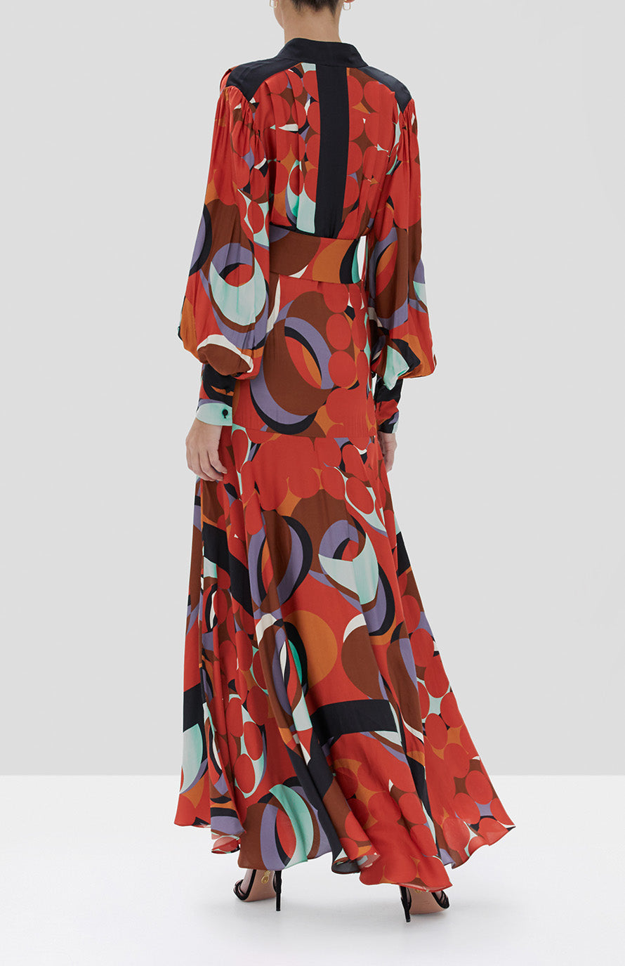 Alexis Pandora Dress in Red Eclipse from the Fall Winter 2019 Ready To Wear Collection - Rear View