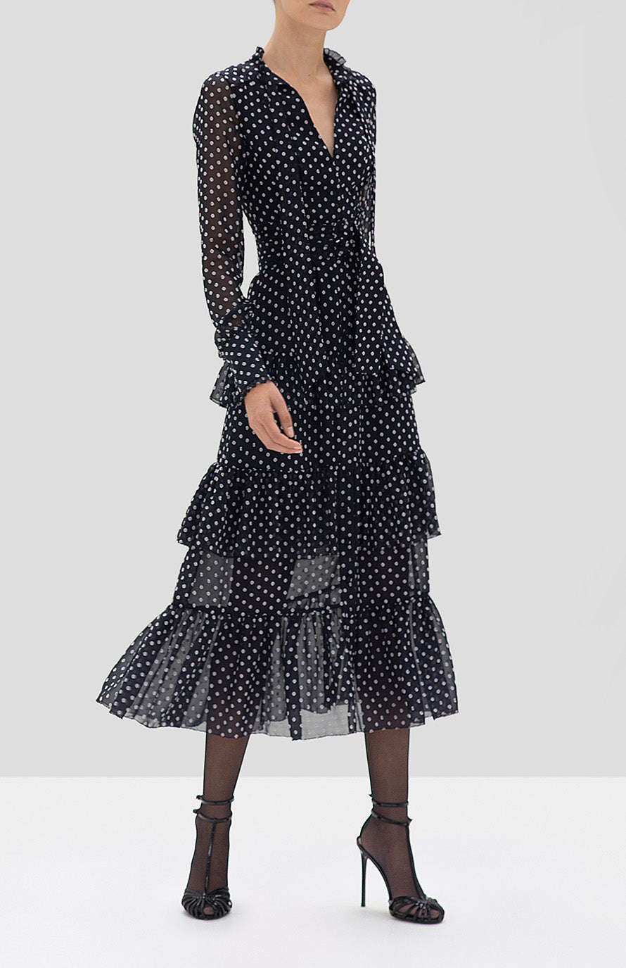 ALEXIS Parissa Dress in Black Embroidered Dot - Rear View