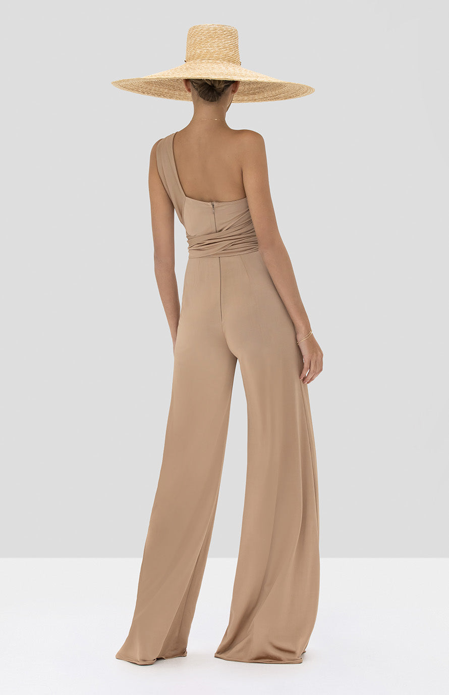 Alexis Parson Jumpsuit in Tan from the Spring Summer 2020 Collection - Rear View