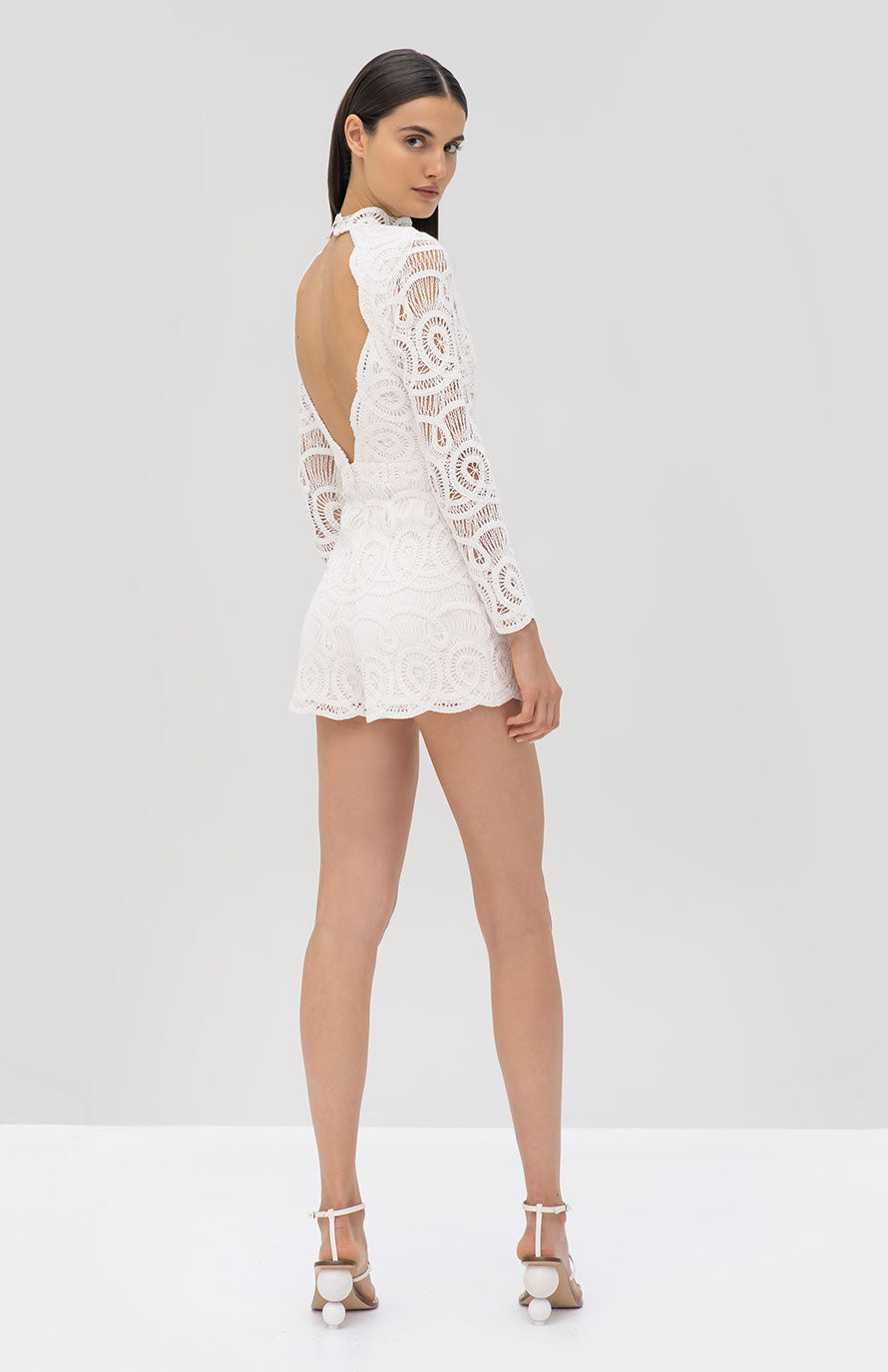 Alexis Perseus Romper White - Rear View