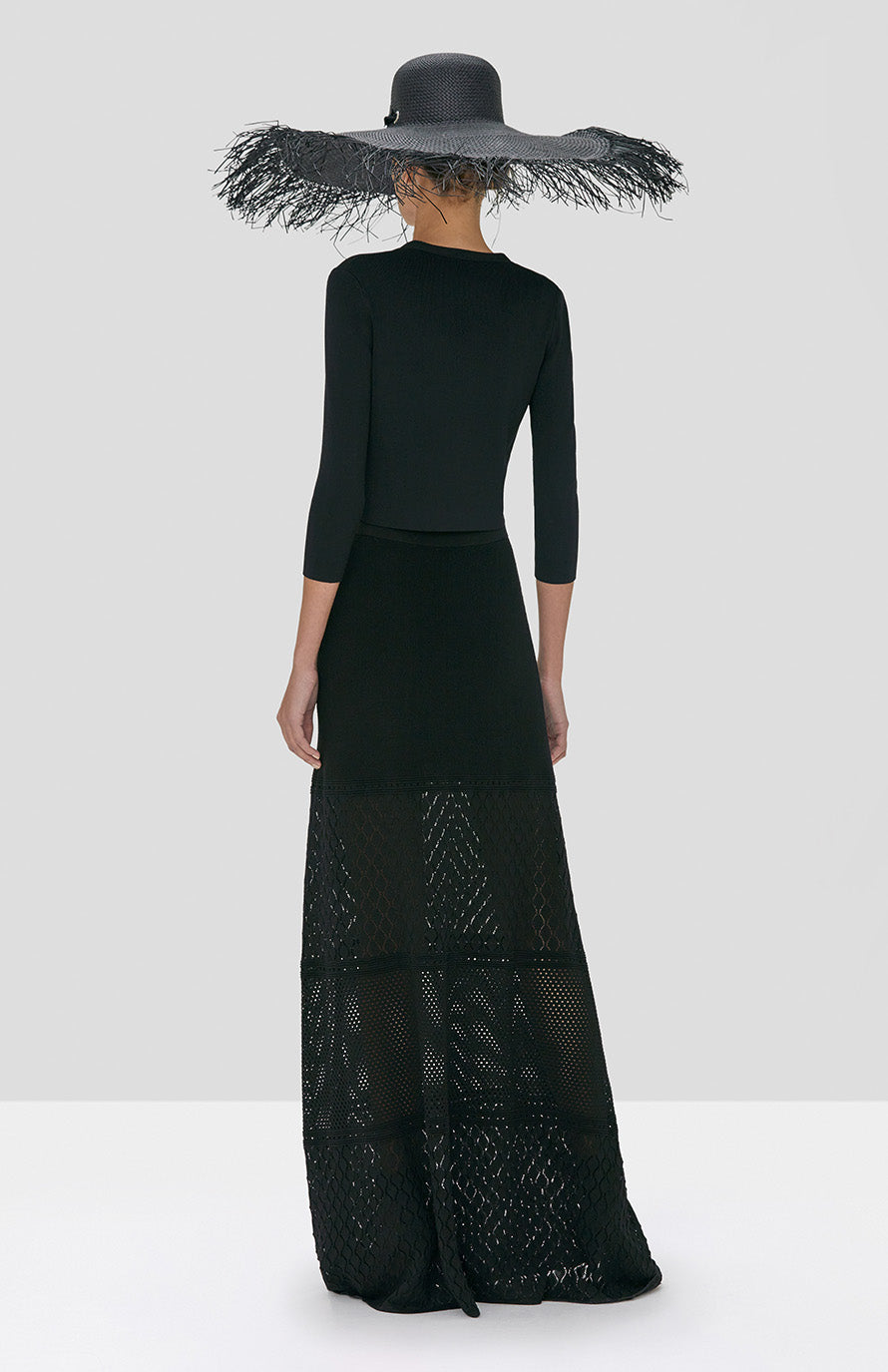 Alexis Ecco Skirt in Black and Petal Cardigan in Black from Spring Summer 2020 Collection - Rear View