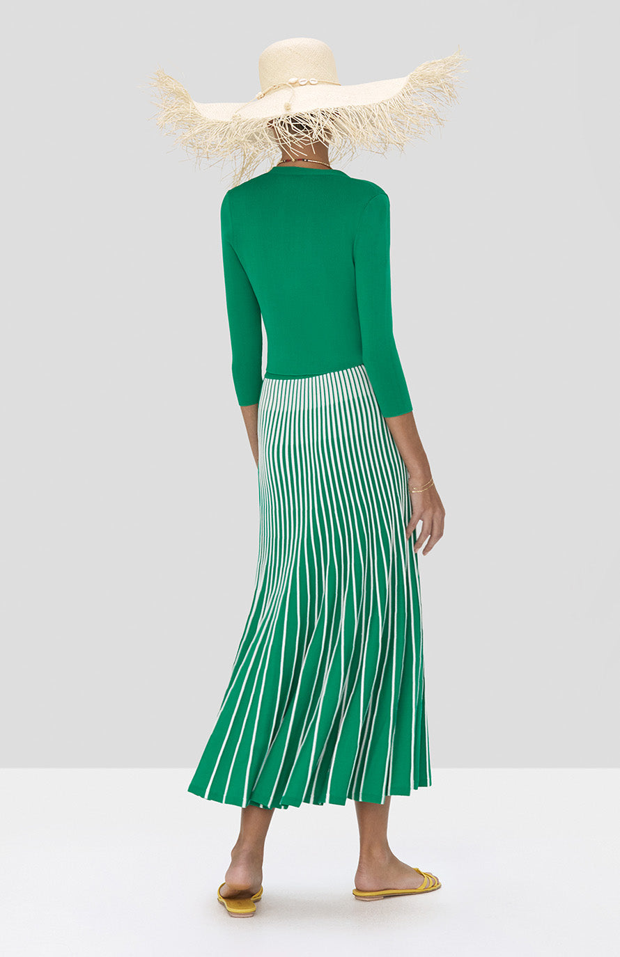 Alexis Petal Cardigan in Green and Vani Skirt in Green and White Stripes from Spring Summer 2020 - Rear View