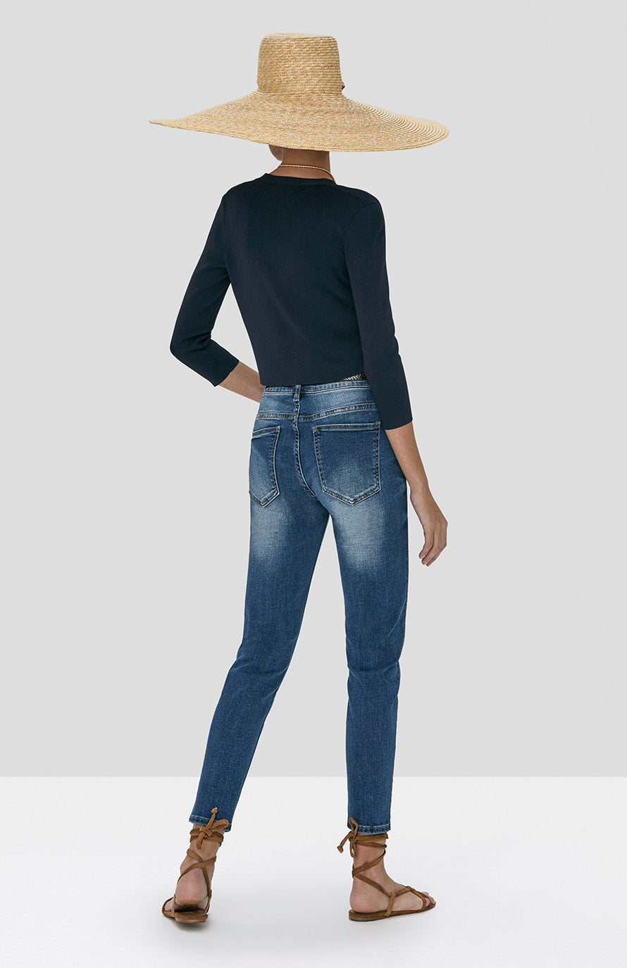 Alexis Petal Cardigan in Navy Blue and Holston Denim Pant in Indigo Denim from Spring Summer 2020 - Rear View
