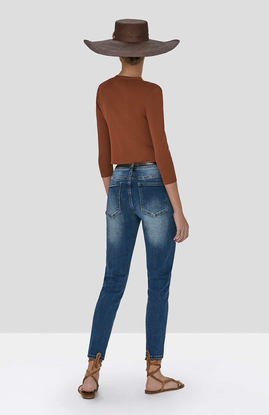 Alexis Petal Cardigan in Rust and Holston Denim Pant in Indigo Denim from Spring Summer 2020 - Rear View