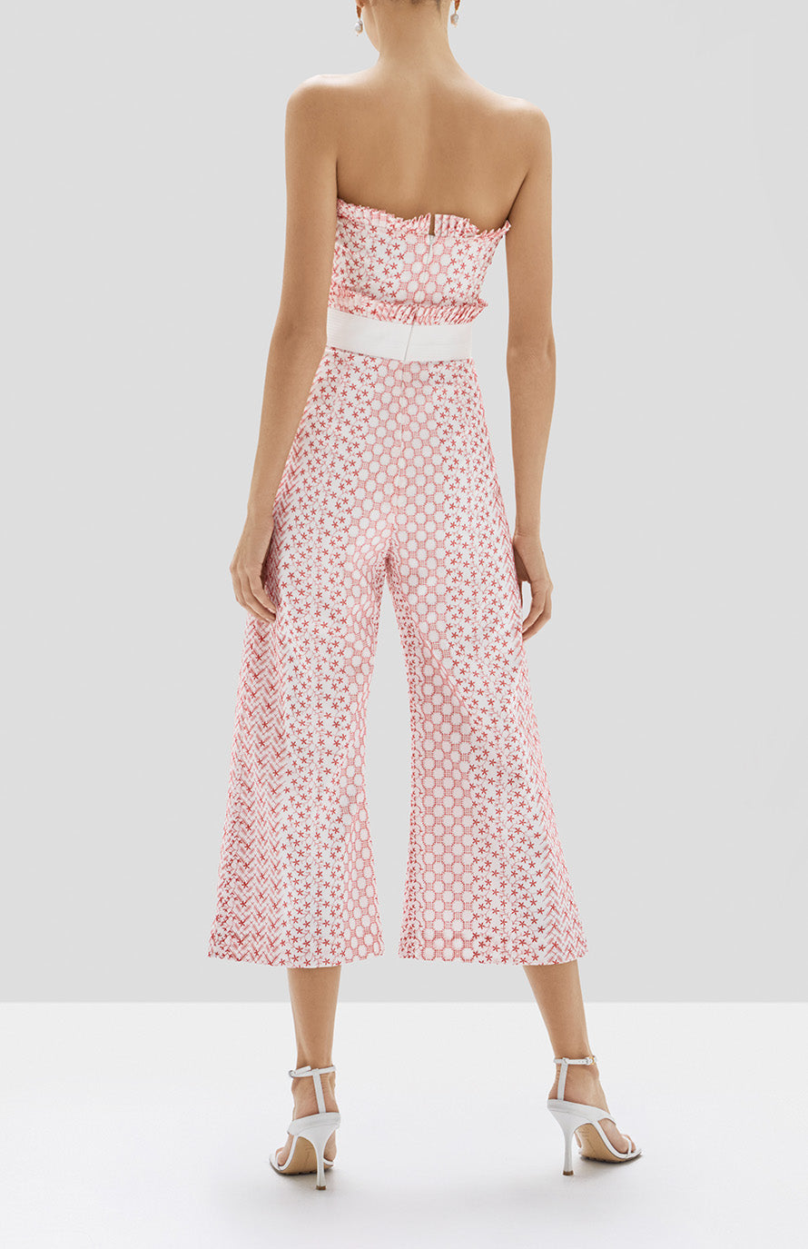 Alexis Pretti Jumpsuit in Red Embroidery from Pre Spring 2020 - Rear View