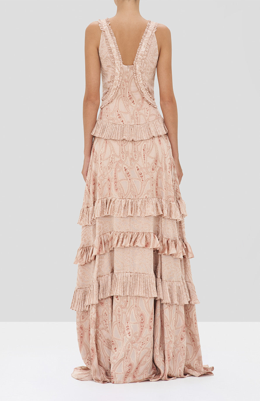 Alexis Rafaela Dress in Blush Paisley from the Holiday 2019 Ready To Wear Collection - Rear View