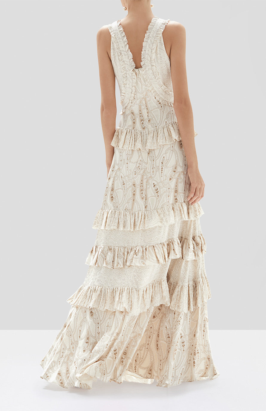 Alexis Rafaela Dress in Cream Paisley from the Holiday 2019 Ready To Wear Collection - Rear View