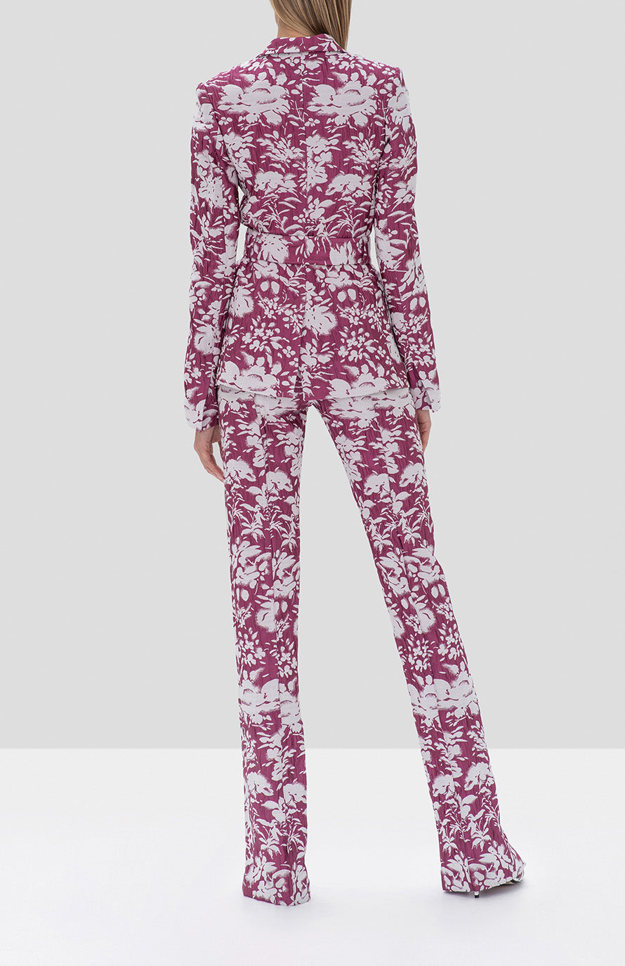 Alexis Raquelle Jacket and Burgos Pant Fuchsia Garden Jacquard from the Fall Winter 2019 Collection - Rear View