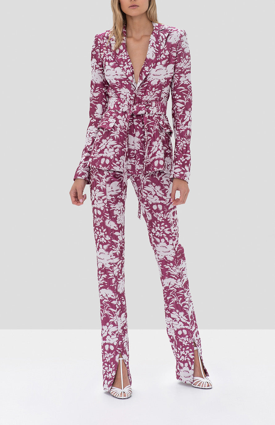 Alexis Raquelle Jacket and Burgos Pant Fuchsia Garden Jacquard from the Fall Winter 2019 Ready To Wear Collection - Rear View