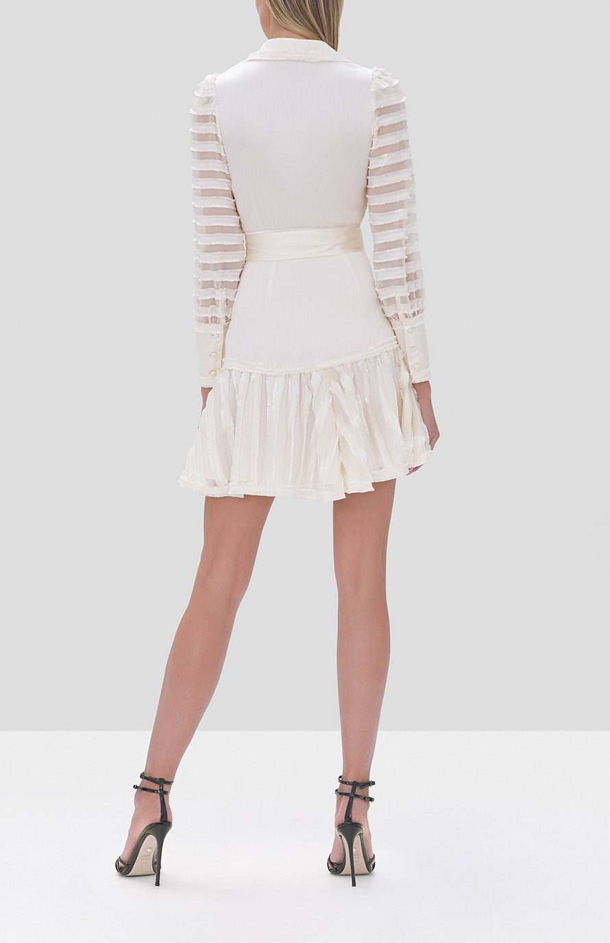 Alexis Renita Dress in Off White from the Fall Winter 2019 Ready To Wear Collection - Rear View