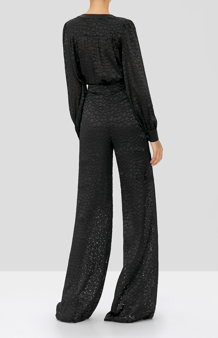 Alexis Rhida Top and Galini Pant in Black Geometric from the Holiday 2019 Ready To Wear Collection - Rear View