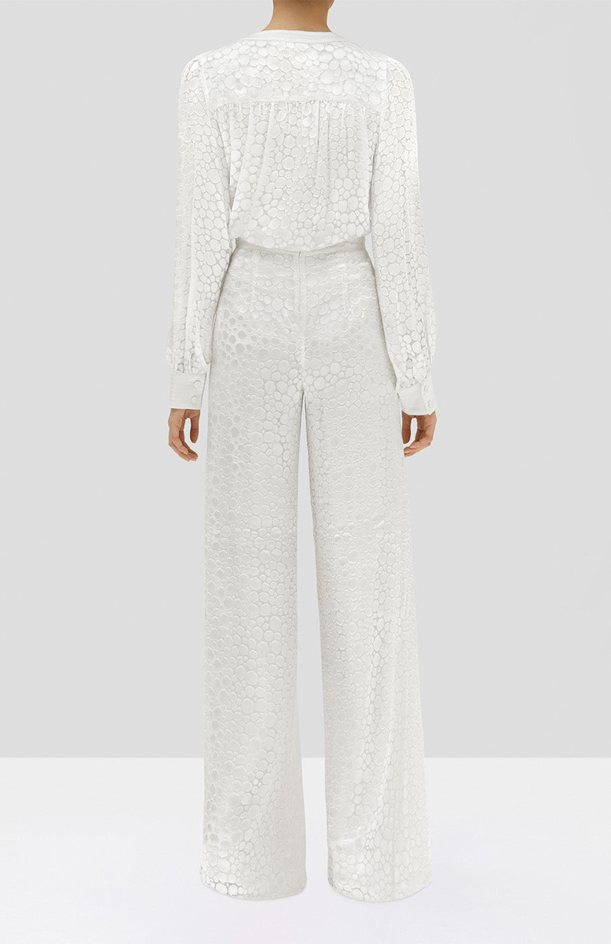 Alexis Rhida Top and Galini Pant in White Geometric from the Holiday 2019 Ready To Wear Collection - Rear View