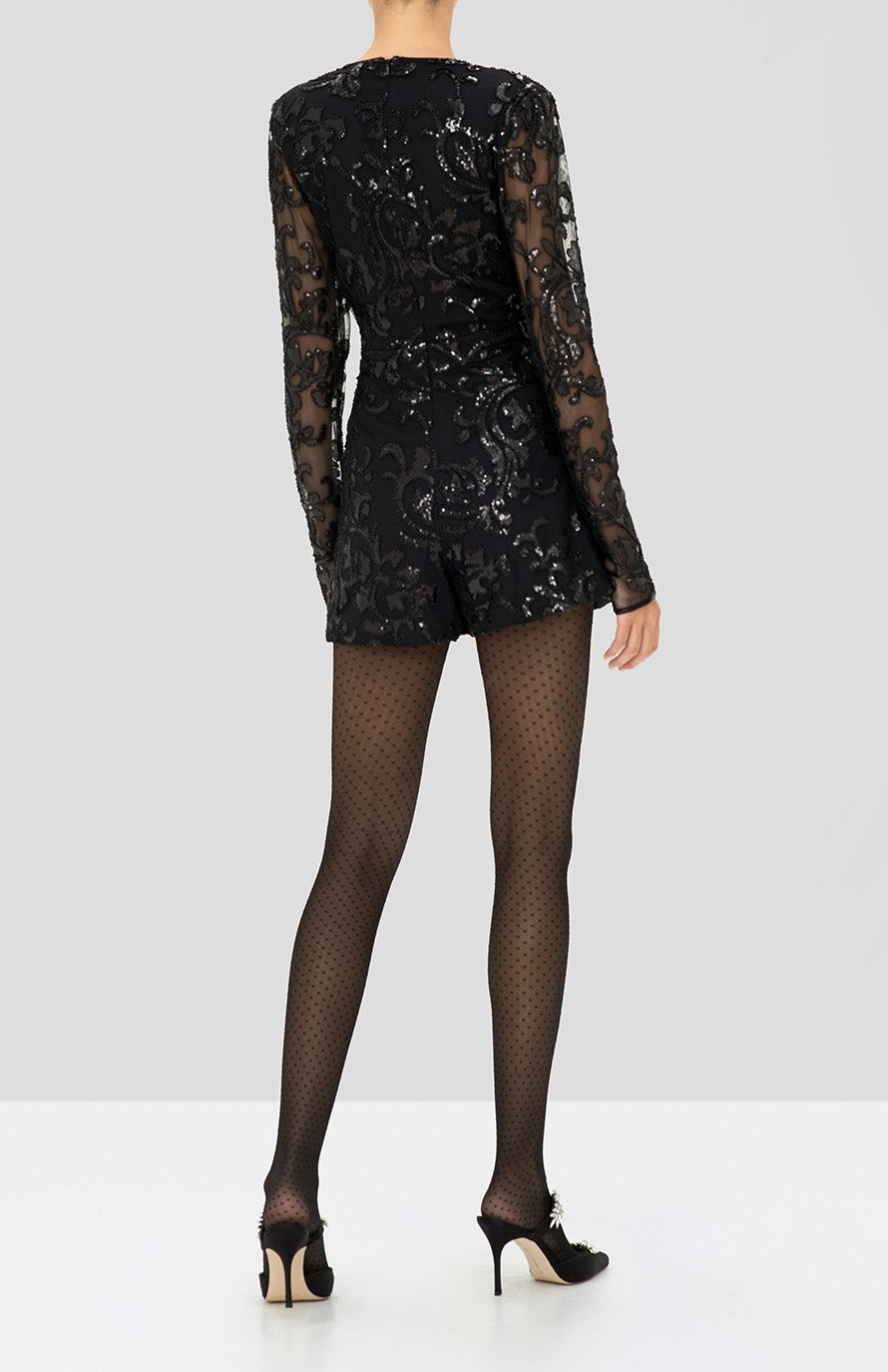 Alexis Riso Romper in Beaded Black from the Holiday 2019 Ready To Wear Collection - Rear View