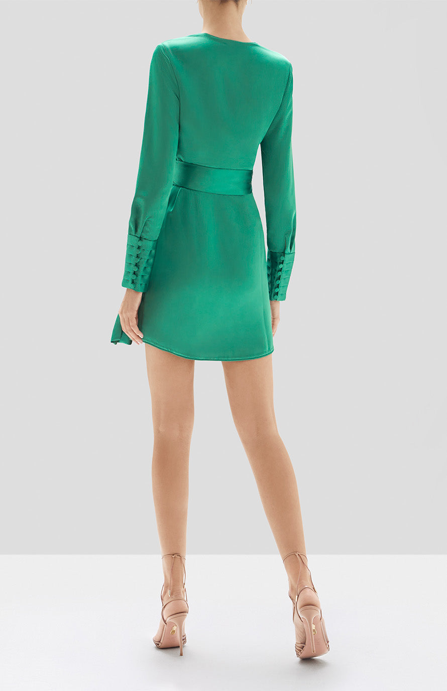 Alexis Rodya Dress in Emerald Green from the Holiday 2019 Ready To Wear Collection - Rear View