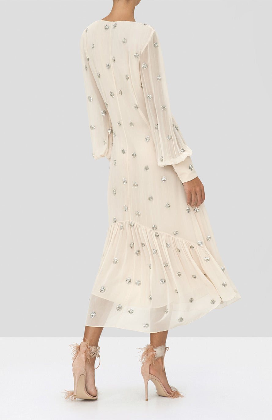 Alexis Roksana Dress in Embellished Blush from the Holiday 2019 Ready To Wear Collection - Rear View