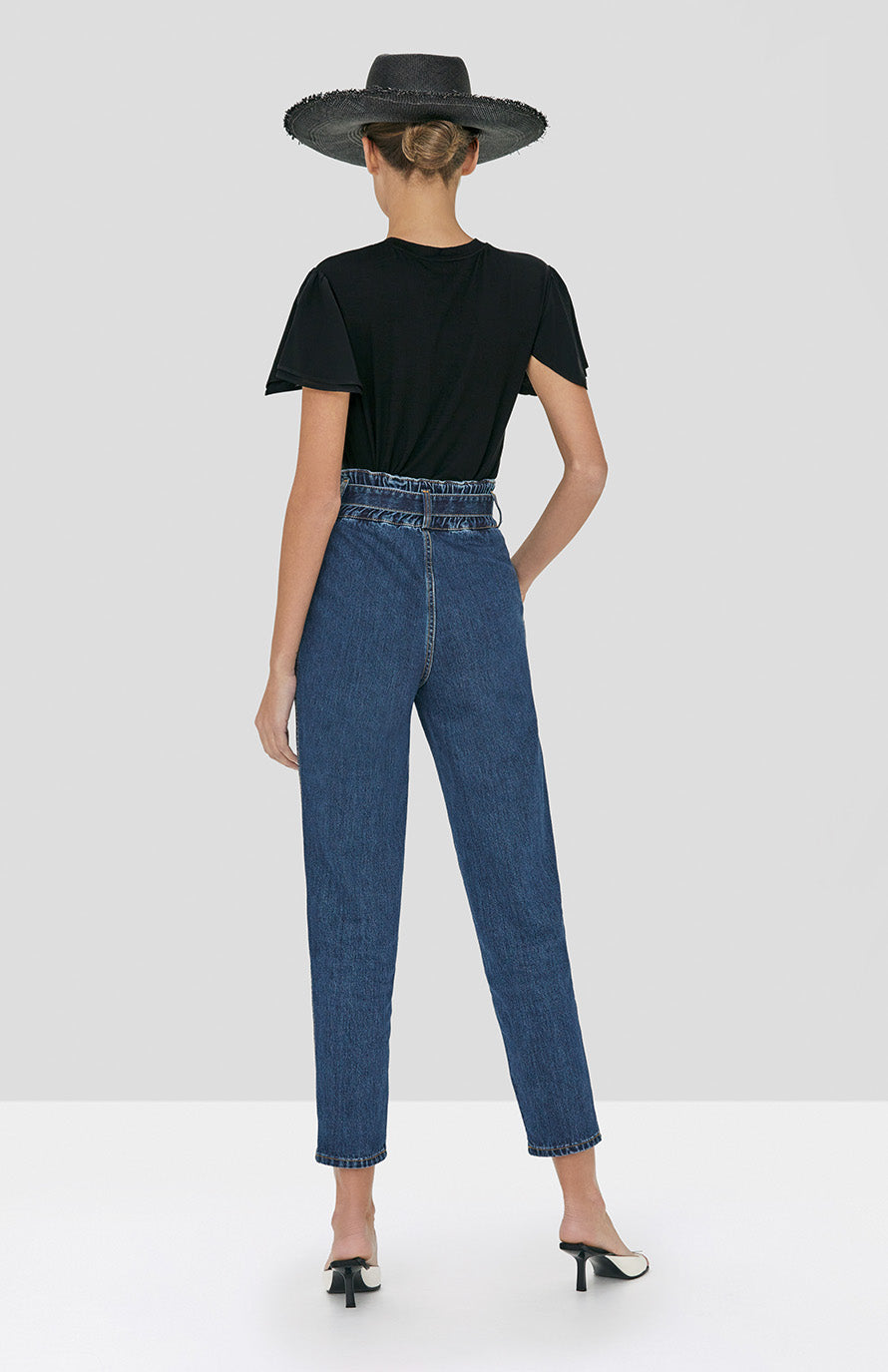 Alexis Ronson Top in Black and Stannis Denim Pant in Washed Denim from Spring Summer 2020 Collection - Rear View