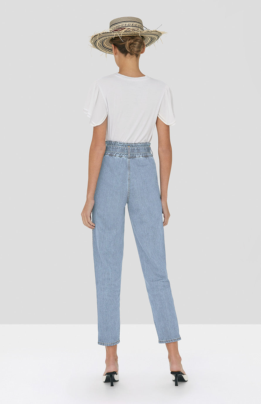 Alexis Ronson Top in White and Stannis Denim Pant in Light Denim from Spring Summer 2020 - Rear View