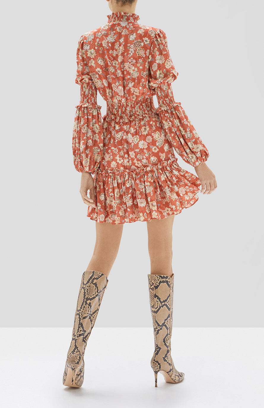 Alexis Rosewell Dress in Saffron Floral from Pre Spring 2020 Collection - Rear View