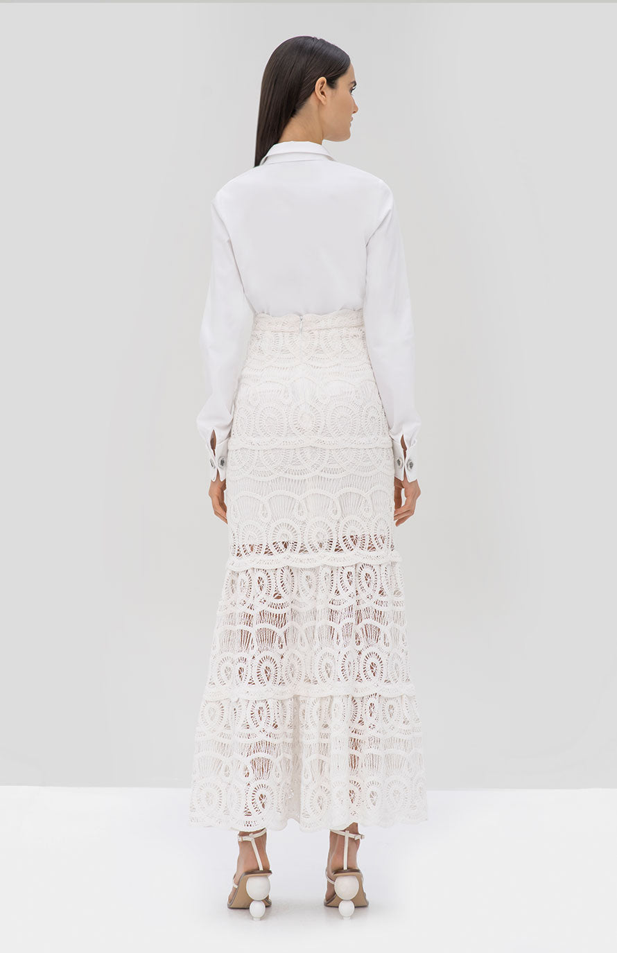 Alexis Roxanne Top and Davoni Skirt in White from the Pre Fall 2019 Ready To Wear Collection - Rear View