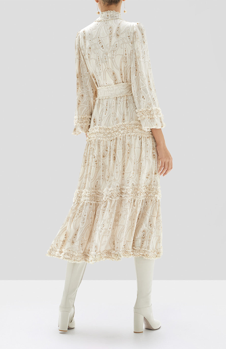 Alexis Rozalya Dress in Cream Paisley from Our Holiday 2019 Ready to Wear Collection. - Rear View
