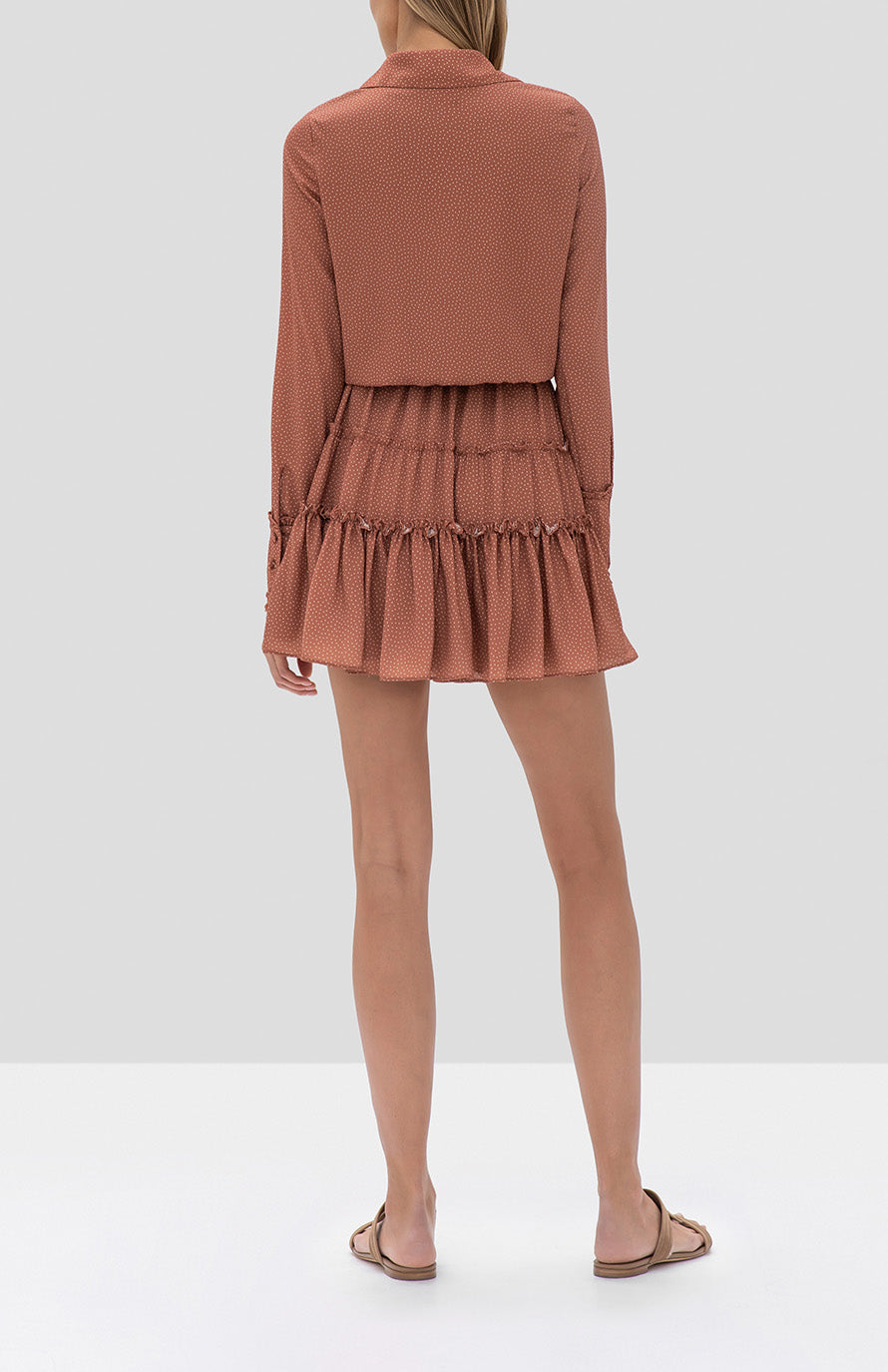 Alexis Rozalyn Dress in Tan Dot from the Fall Winter 2019 Ready To Wear Collection - Rear View