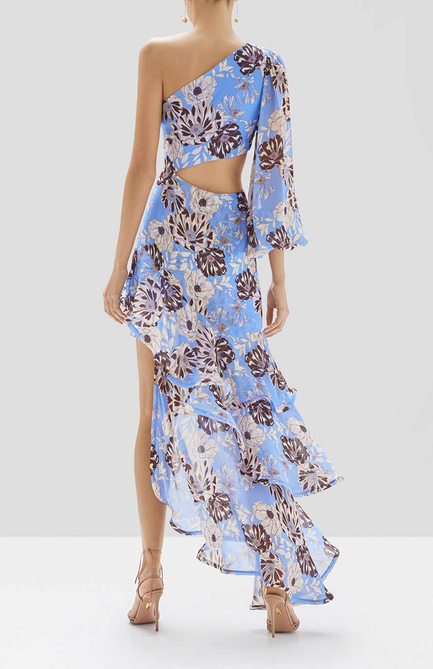 Alexis Sabetta Dress in Blue Floral from Pre Spring 2020 Collection - Rear View