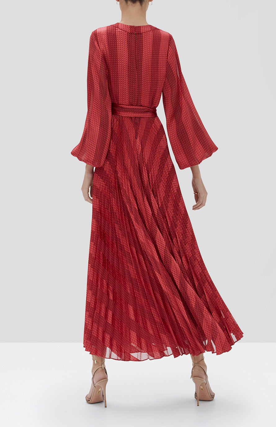 Alexis Salomo Dress in Red Geo Stripes from the Fall Winter 2019 Ready To Wear Collection - Rear View