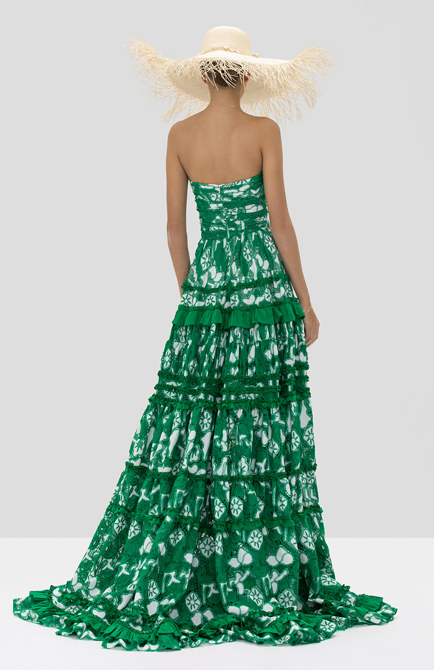Alexis Samanta Gown in Emerald Embroidered Lace from the Spring Summer 2020 Collection - Rear View