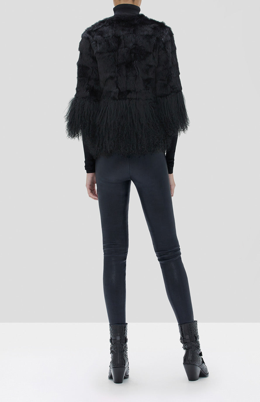 Alexis Sawyer Fur Jacket Black, Boyd Pants Black, Jaiko Top Black from Fall Winter 2019 Collection - Rear View