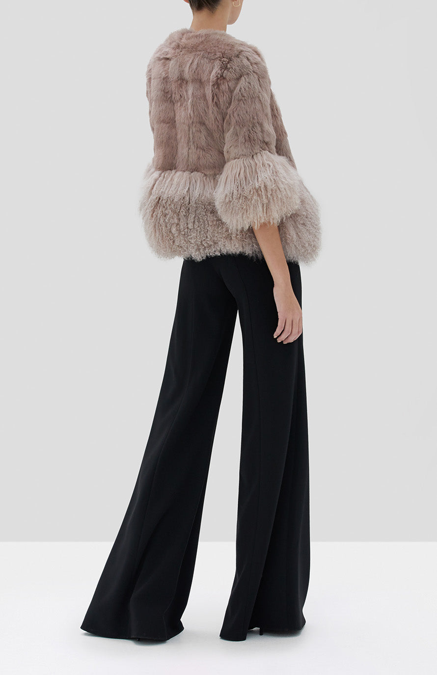 Alexis Sawyer Fur Jacket in Blush and Irvine Pant in Black from the Fall Winter 2019 Ready To Wear Collection - Rear View