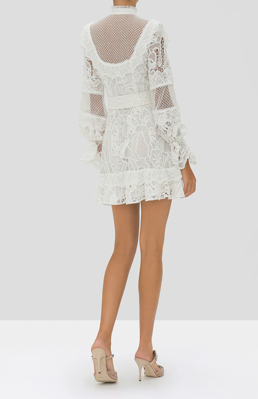 Alexis Shanna Dress in White from the Holiday 2019 Ready To Wear Collection - Rear View