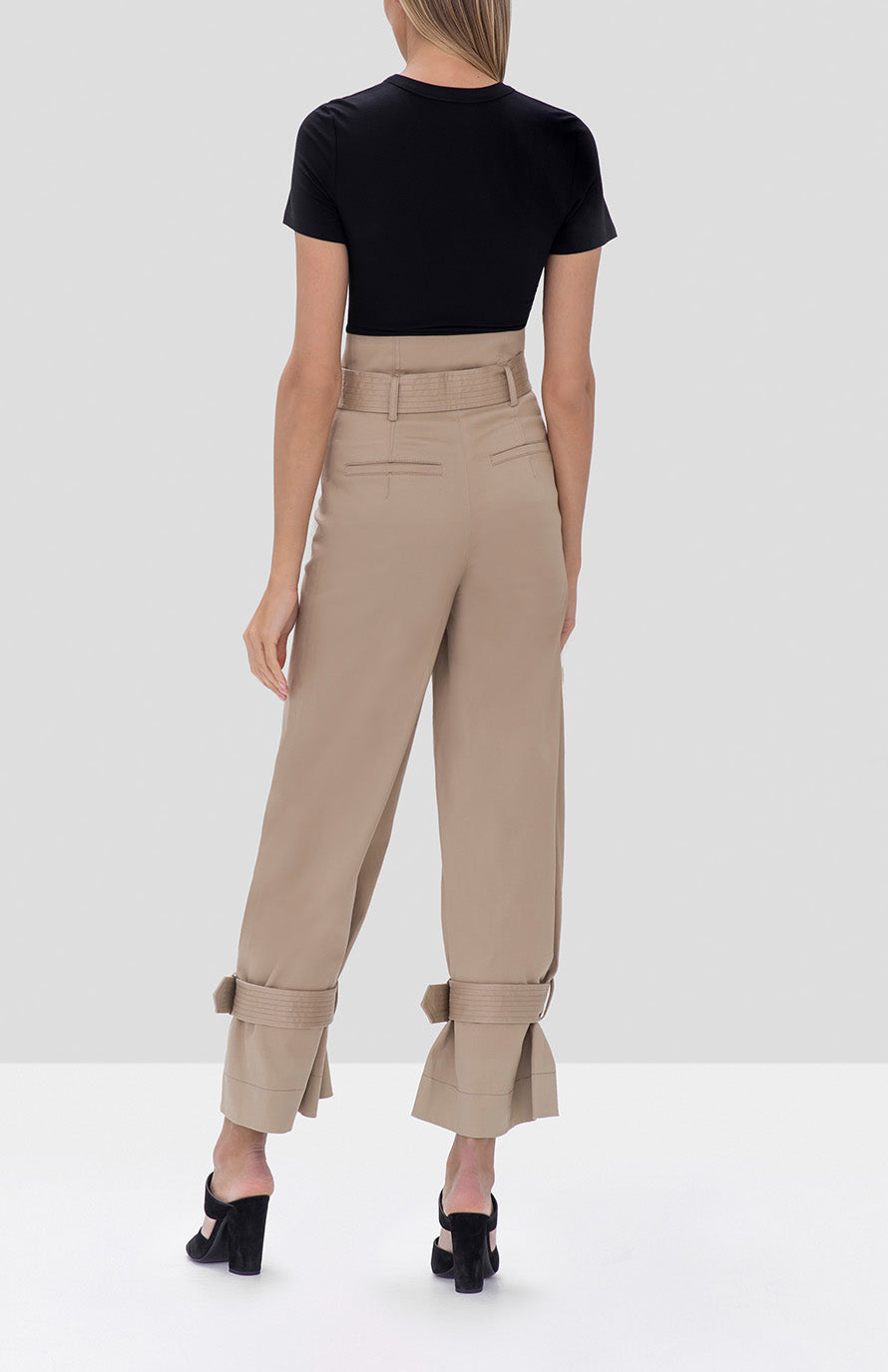 Alexis Soli Top in Black and Vicente Pant in Tan from the Fall Winter 2019 Ready To Wear Collection - Rear View