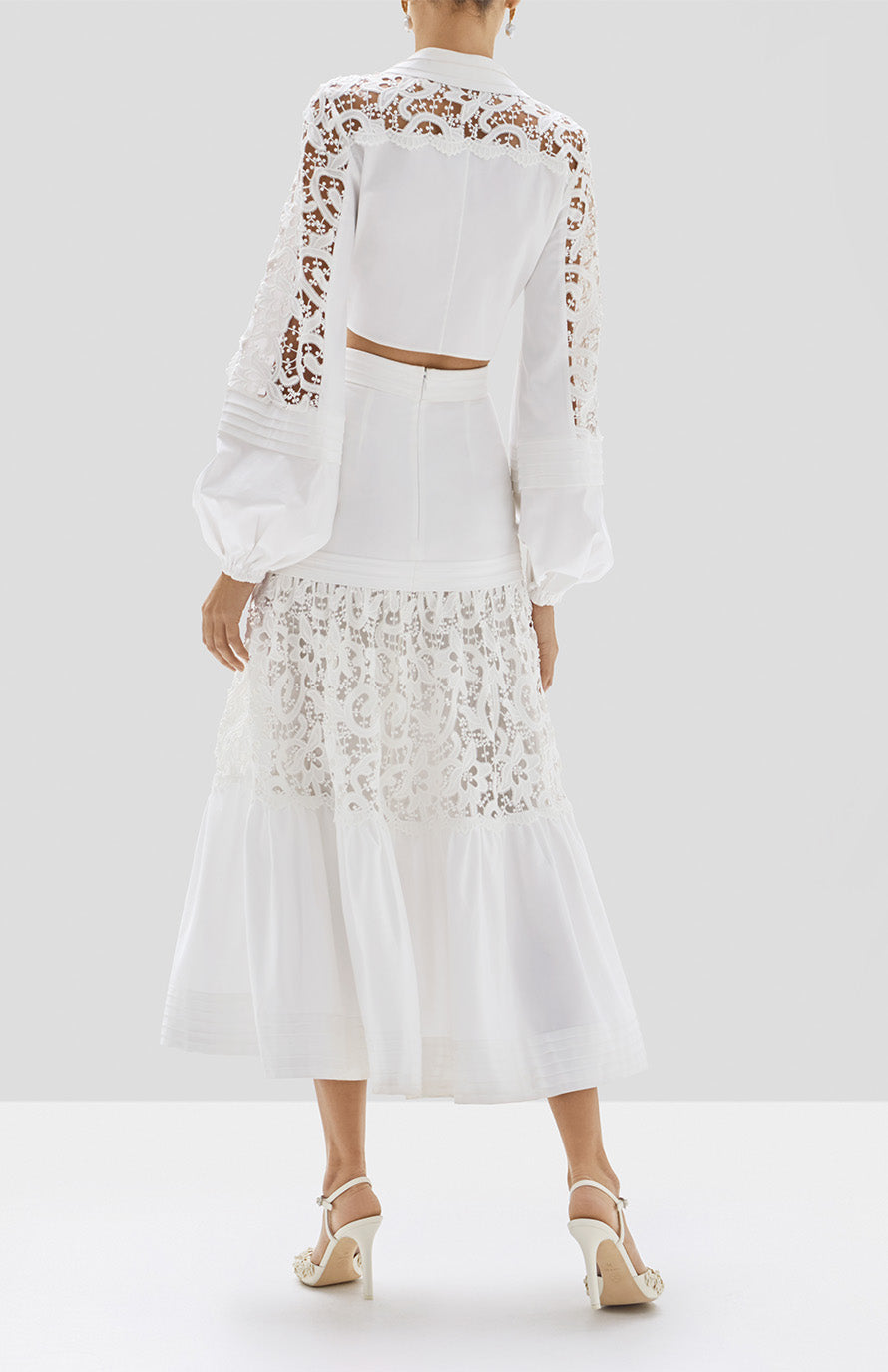 Alexis Toilan Top and Gwenda Skirt in White from our Pre Spring 2020 Ready To Wear Collection.  - Rear View