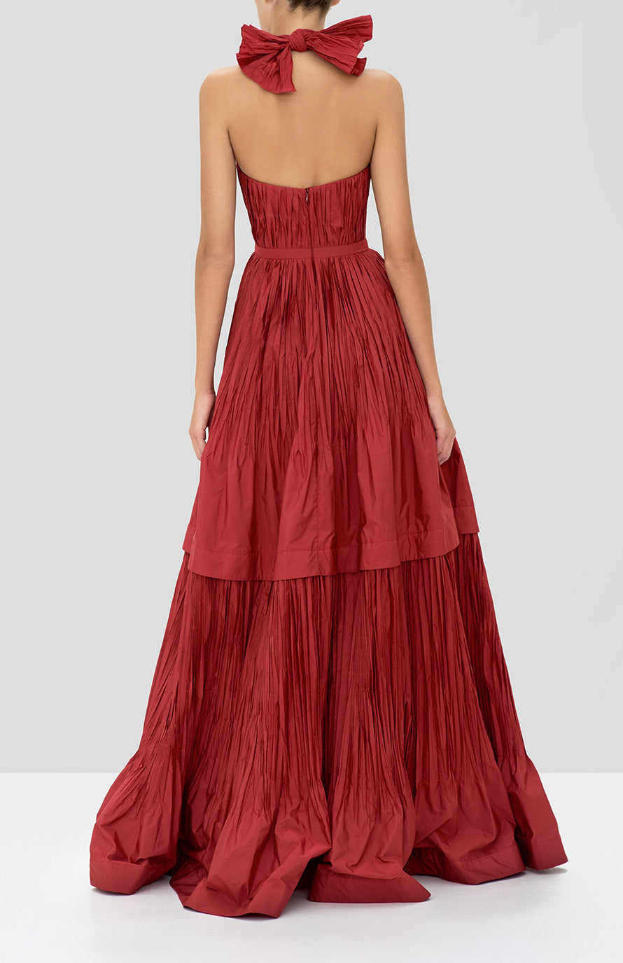 Alexis Tressa Gown in Burgundy from the Holiday 2019 Ready To Wear Collection - Rear View